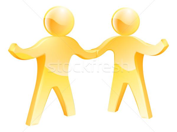 Kézfogás arany férfiak kettő üzlet együttműködés Stock fotó © Krisdog