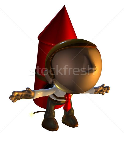 3d business man character with rocket pack Stock photo © Krisdog