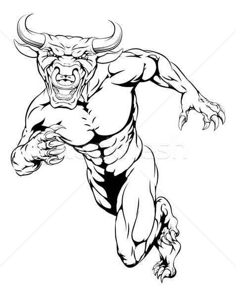 Running bull mascot Stock photo © Krisdog