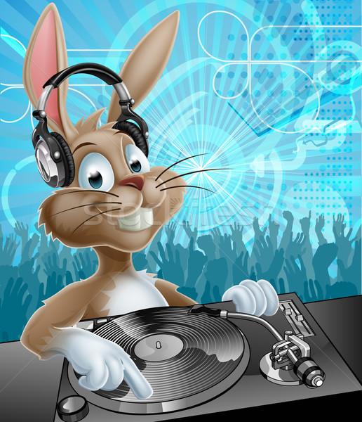 Easter bunny parti karikatür kulaklık kayıt dans Stok fotoğraf © Krisdog