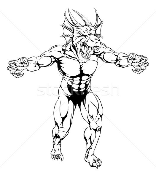 Draak mascotte uit agressief taai Stockfoto © Krisdog