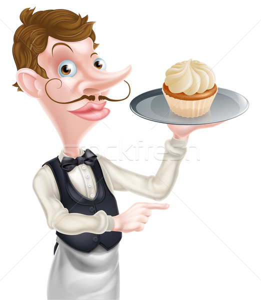 Waiter with Cake Pointing Stock photo © Krisdog