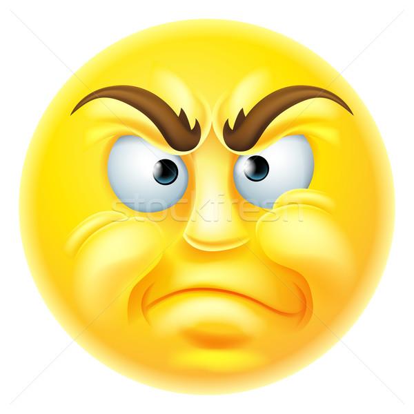 怒っ 顔文字 見える 背景 にログイン 顔 ストックフォト © Krisdog