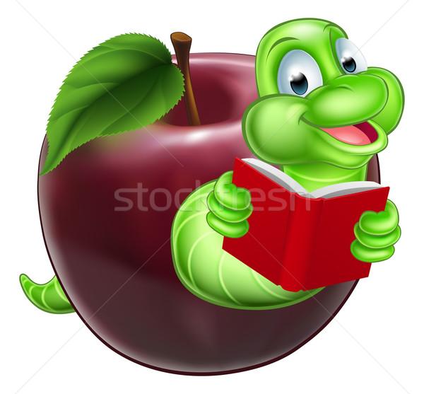 книжный червь счастливым улыбаясь Cute зеленый Cartoon Сток-фото © Krisdog