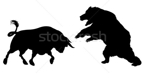 Bear Versus Bull Silhouette Stock photo © Krisdog