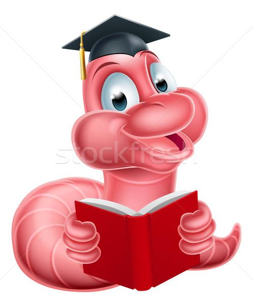 Cute cartoon rups worm illustratie gelukkig Stockfoto © Krisdog