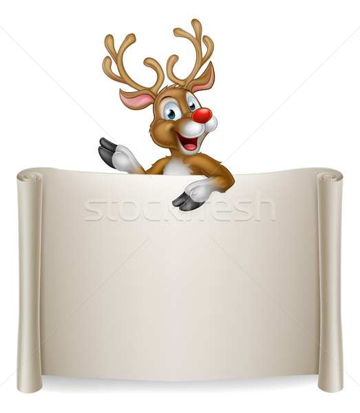 Christmas rendier scroll illustratie cute cartoon Stockfoto © Krisdog