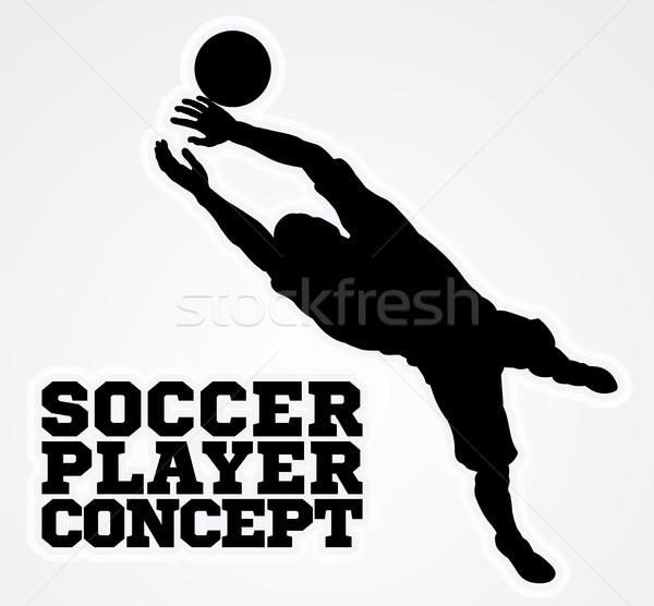 Goal Keeper Soccer Player Silhouette  Stock photo © Krisdog