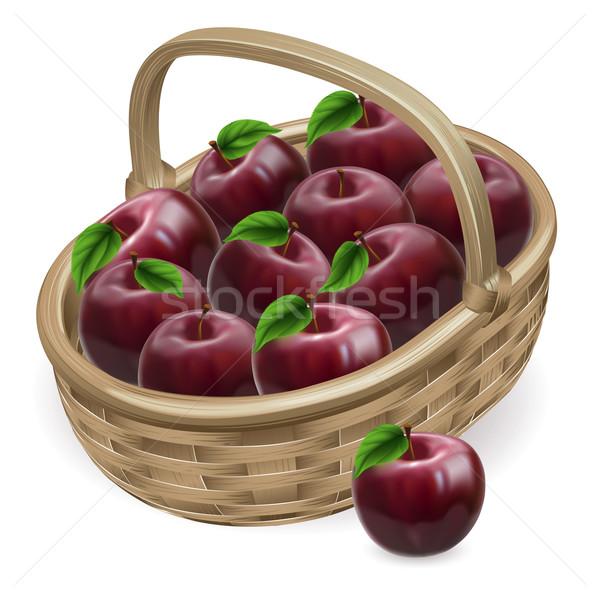 Manzana roja cesta ilustración frescos sabroso brillante Foto stock © Krisdog