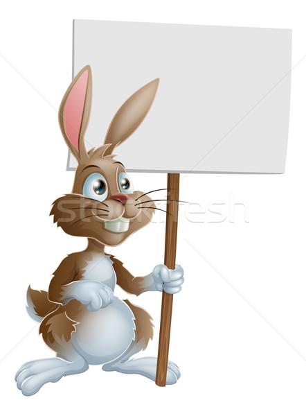 Rabbit holding sign cartoon illustration Stock photo © Krisdog