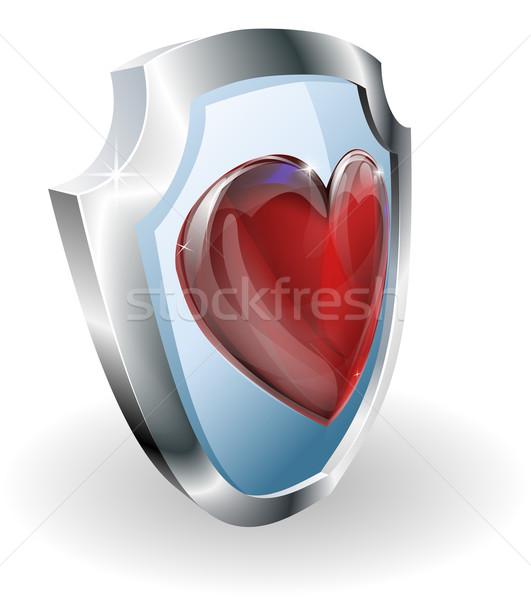 Heart on 3D shield icon Stock photo © Krisdog