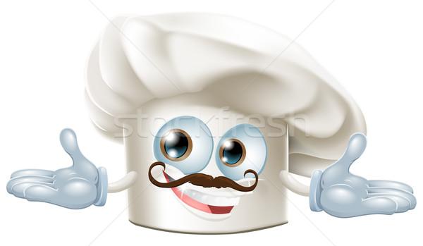 Aranyos szakács sapka kabala illusztráció kezek arc Stock fotó © Krisdog