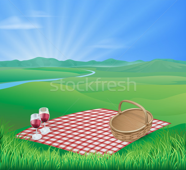 Picnic in beautiful rural scene Stock photo © Krisdog