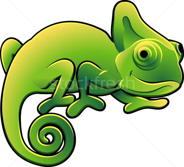 Cute Chameleon Vector Illustration Stock photo © Krisdog