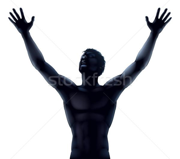Człowiek sylwetka ręce ilustracja Zdjęcia stock © Krisdog