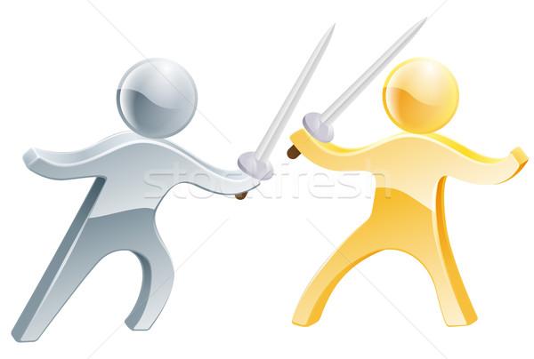 Ogrodzenie dwie osoby konkurencja podobny Zdjęcia stock © Krisdog