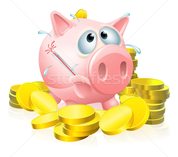 Poorly piggy bank concept Stock photo © Krisdog