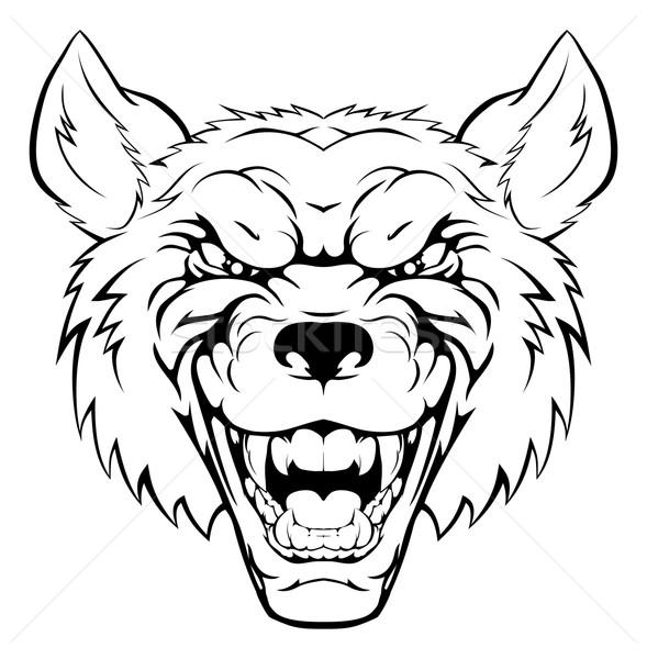 Сток-фото: волка · талисман · голову · иллюстрация · жесткий · глядя