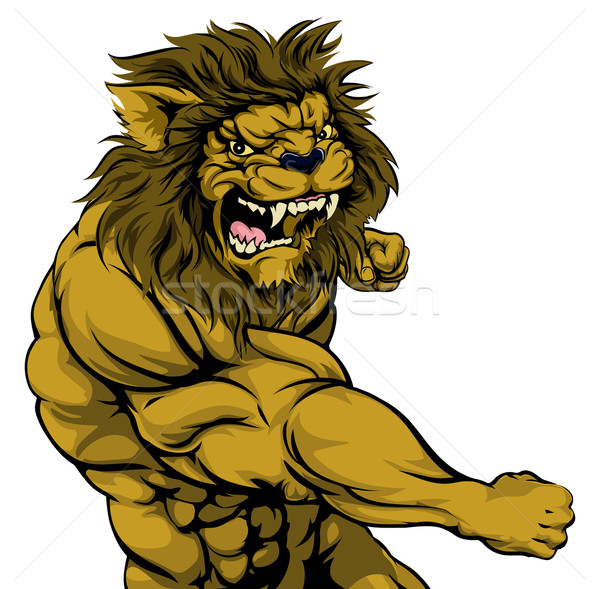 Lion mascot fighting Stock photo © Krisdog