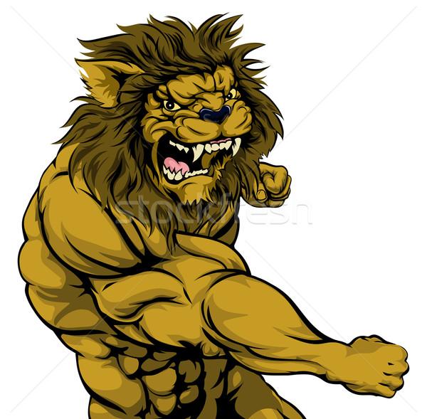 Oroszlán kabala harcol szívós izmos karakter Stock fotó © Krisdog