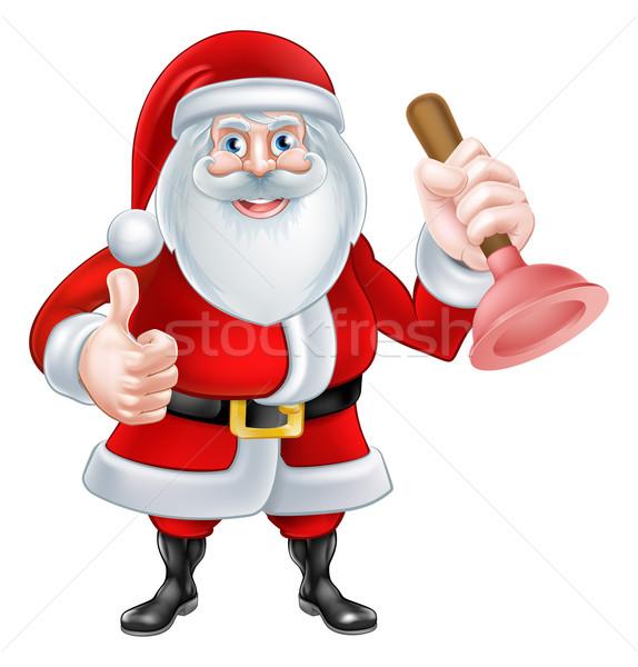Cartoon Santa Holding a Plunger Stock photo © Krisdog