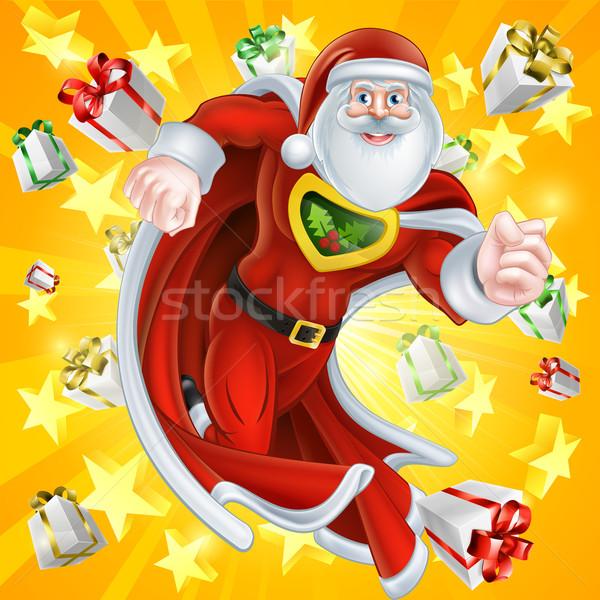 Heroïsch kerstman cartoon christmas karakter Stockfoto © Krisdog