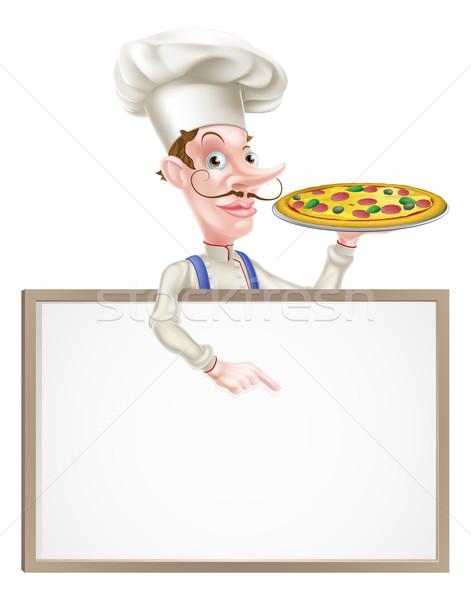 Pizza szakács felirat illusztráció rajz tart Stock fotó © Krisdog