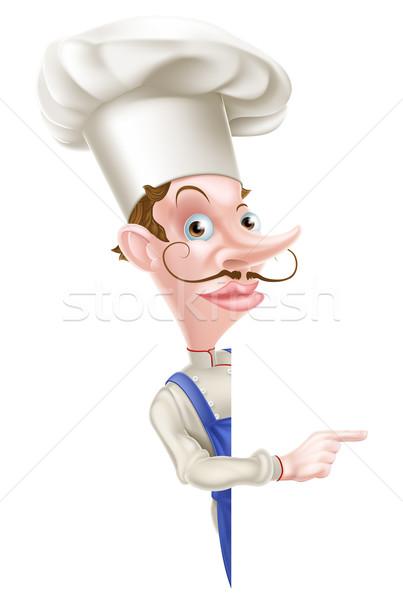 Szakács mutat illusztráció rajz boldog háttér Stock fotó © Krisdog