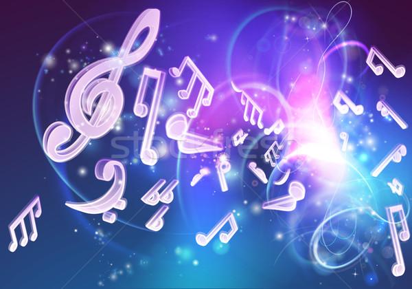 Zene hangjegyek neon ahogy izzik terv Stock fotó © Krisdog