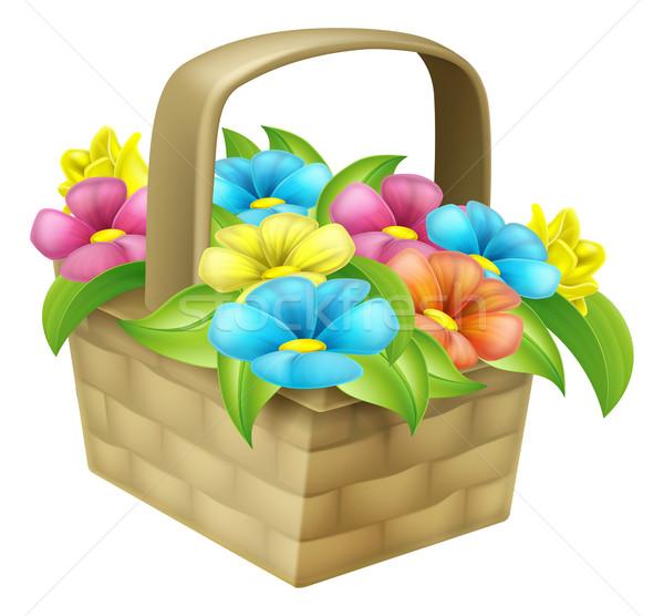 Cartoon Floral Basket Stock photo © Krisdog