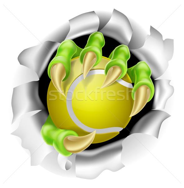 Foto stock: Garra · pelota · de · tenis · fuera · ilustración · mano