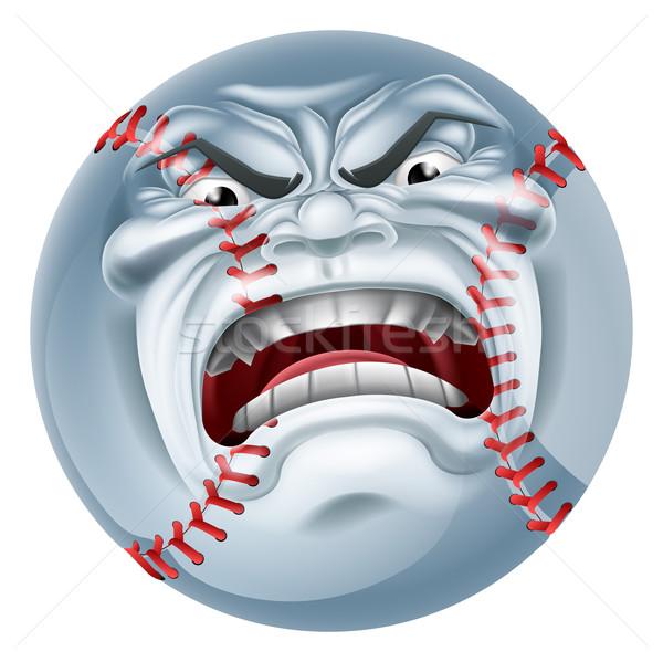 Arrabbiato baseball palla sport mascotte guardando Foto d'archivio © Krisdog