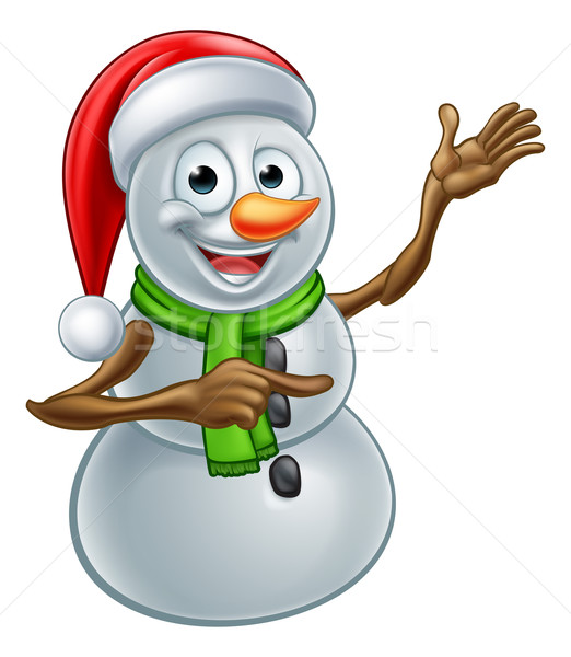 Christmas Snowman Cartoon Santa Hat Character Pointing Stock photo © Krisdog