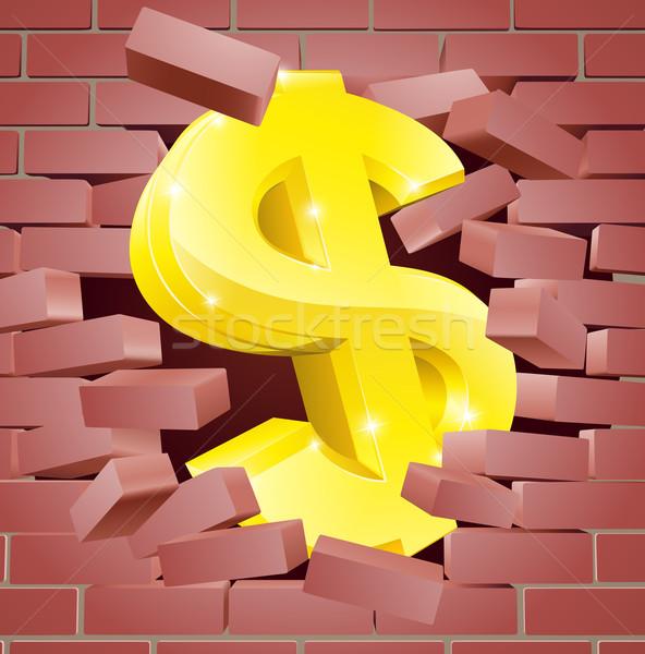 Dollarzeichen Backsteinmauer Gold Business Wand abstrakten Stock foto © Krisdog