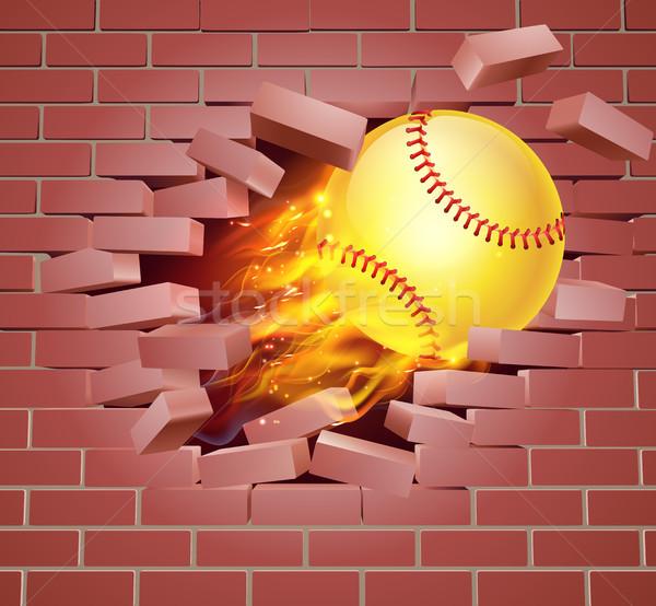 Yanan beysbole benzer top oyunu top tuğla duvar örnek yanan Stok fotoğraf © Krisdog