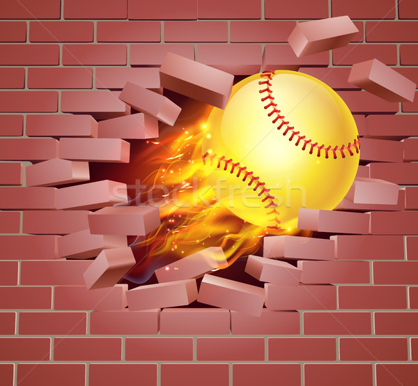 Vlammende softbal bal muur illustratie brandend Stockfoto © Krisdog