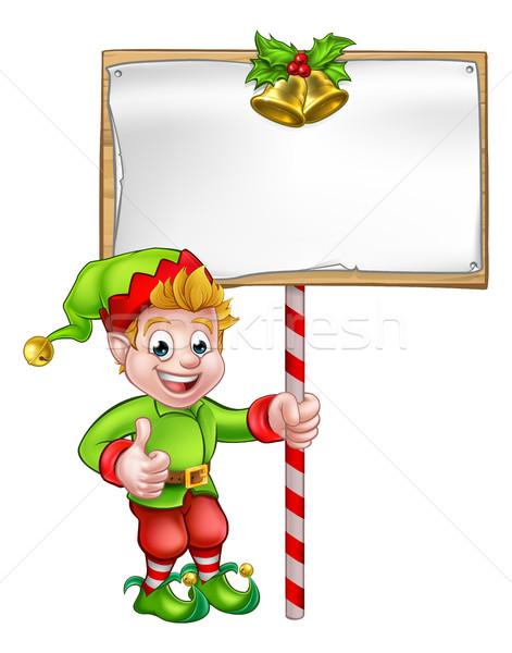 Karácsony felirat mikulás segítő manó aranyos Stock fotó © Krisdog