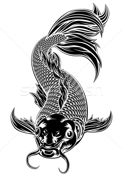 Koi Carp Fish Woodcut Style Stock photo © Krisdog