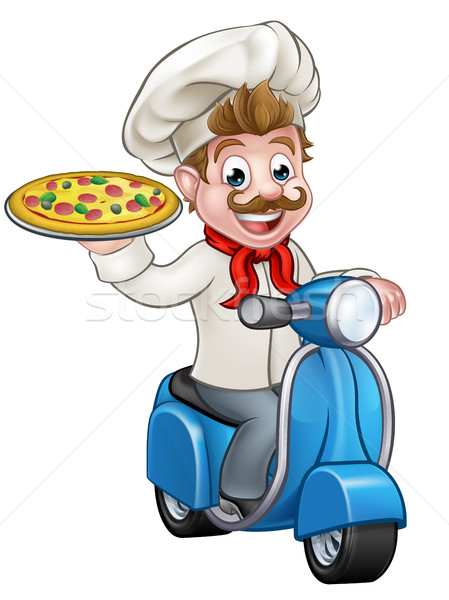 Cartoon Pizza Chef on Delivery Moped Scooter Stock photo © Krisdog