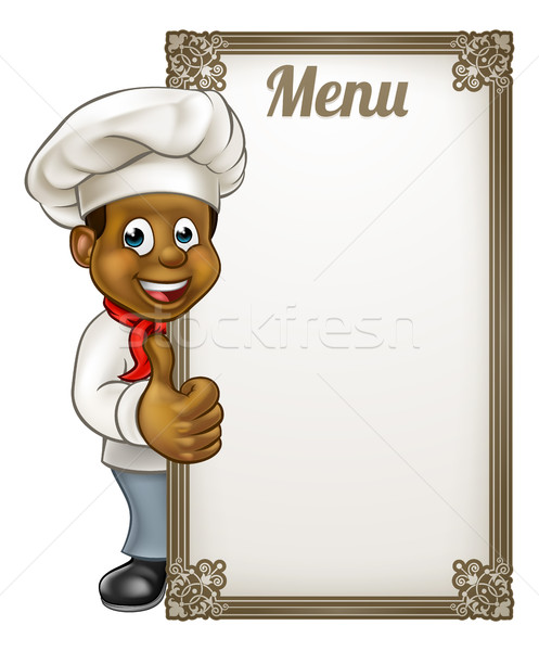 Stockfoto: Cartoon · zwarte · chef · menu · bakker · karakter