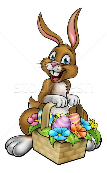 Conejo de Pascua huevo caza cesta Cartoon Foto stock © Krisdog