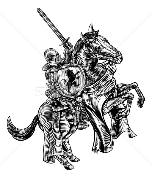 Knight on Horse Woodblock Engraving Style Stock photo © Krisdog