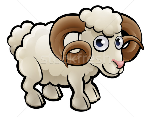 Stock photo: Ram Farm Animals Cartoon Character