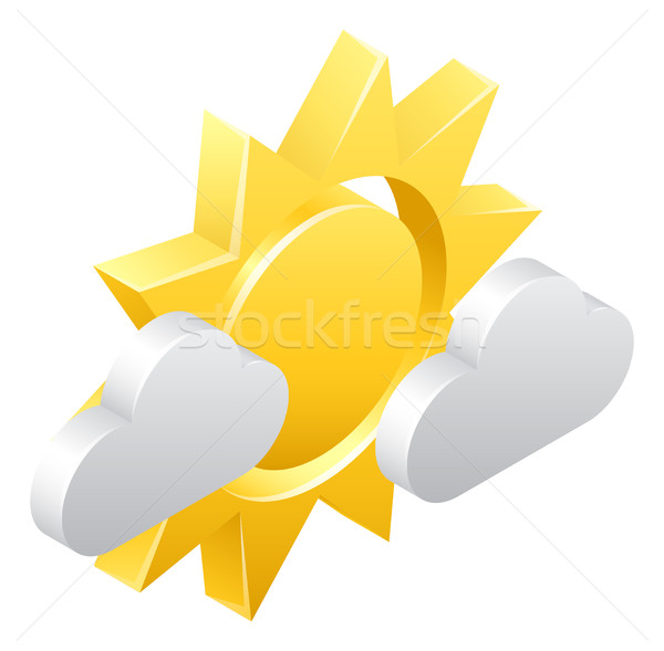 Sun and Clouds 3d Weather Icon Concept Stock photo © Krisdog