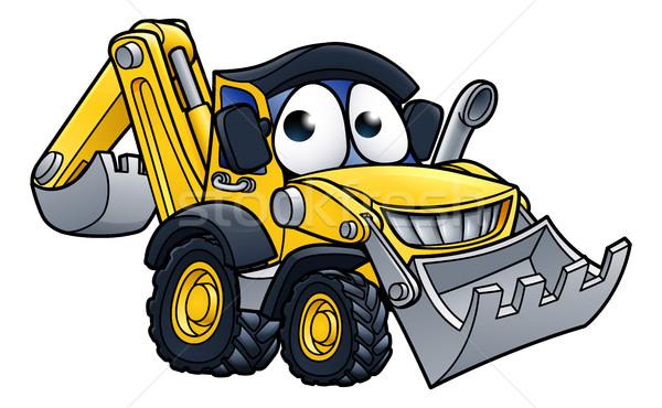 Rajz buldózer karakter építkezés jármű rajzfilmfigura Stock fotó © Krisdog