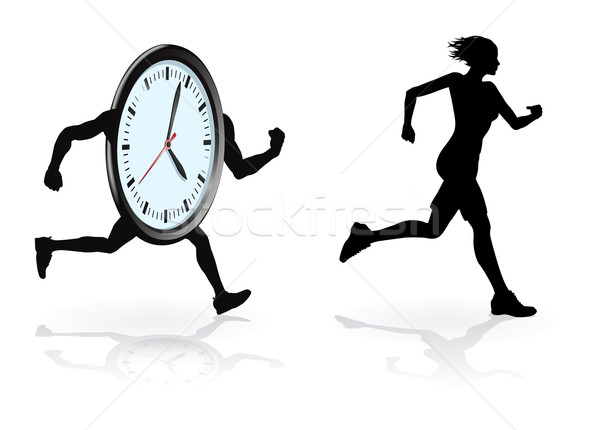 Battement horloge coureur courir design femme Photo stock © Krisdog