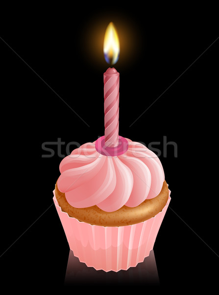 Pink fairy cake cupcake with birthday candle Stock photo © Krisdog