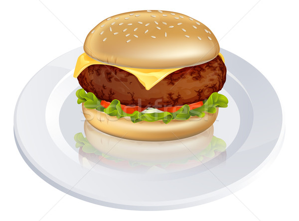 Cheeseburger Illustration lecker schauen Typ burger Stock foto © Krisdog