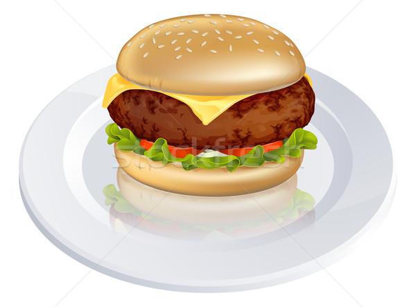 Cheeseburger ilustração saboroso olhando tipo burger Foto stock © Krisdog