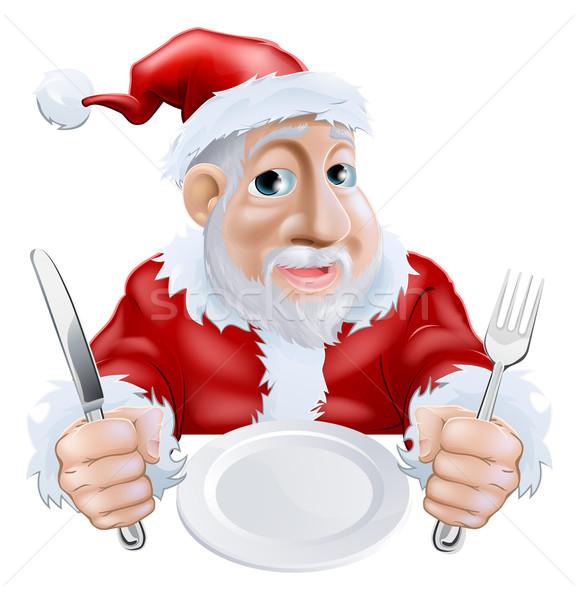 Happy cartoon Santa Ready for Christmas Dinner Stock photo © Krisdog